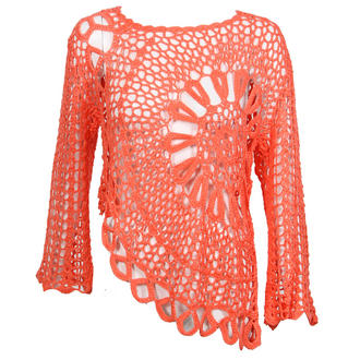 View Item Coral Long Sleeve Crochet Top